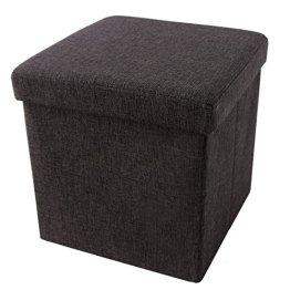 Songmics LSF27K Faltbarer Fußbank Aufbewahrungsbox belastbar bis 300 kg, Stoff, kaffeefarbe, 38 x 38 x 38 cm -