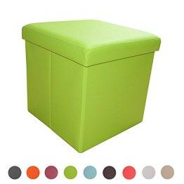 Stylehome® Sitzbank Sitzhocker Aufbewahrungsbox mit Stauraum faltbar belastbar bis 300 kg Kunstleder 38 x 38 x 38 cm ... (Grün) -