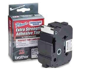 TZ Extra-Strength Adhesive Laminated Labeling Tape, 1-1/2w, Black on White by Brother -