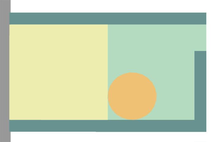 Schema eines kleinen Gartens mit Terrasse, Rasen, Hecke und Kräuterspirale