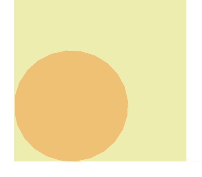 Schema einer runden Form in einer eckigen, Verdeutlichung von Restflächen