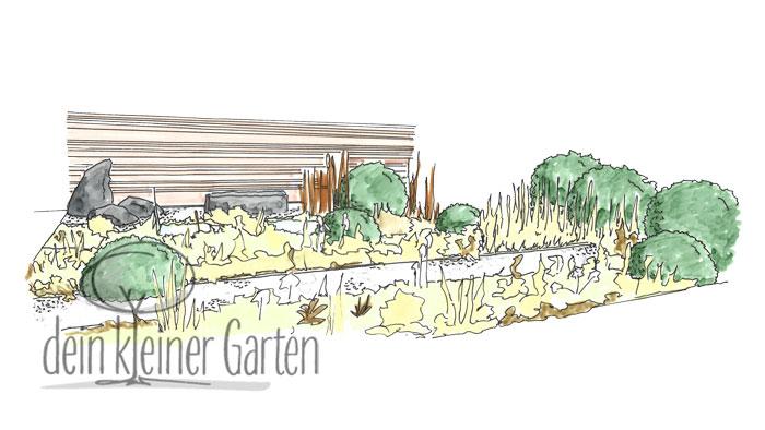 Handzeichnung, koloriert: Perspektischer Blick in einen Reihenhausgarten von der Terrasse zur Sichtschutzwand am anderen Ende über parallel verlaufende Wege und Beete.