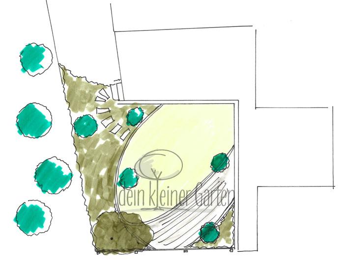Grundriss eines Gartenkonzeptes für ein Reihenhausgarten. Handgezeichnet, koloriert. Das Zentrum des Garten bildet ein schräg vor der Terrasse liegenden Rasen-Oval.