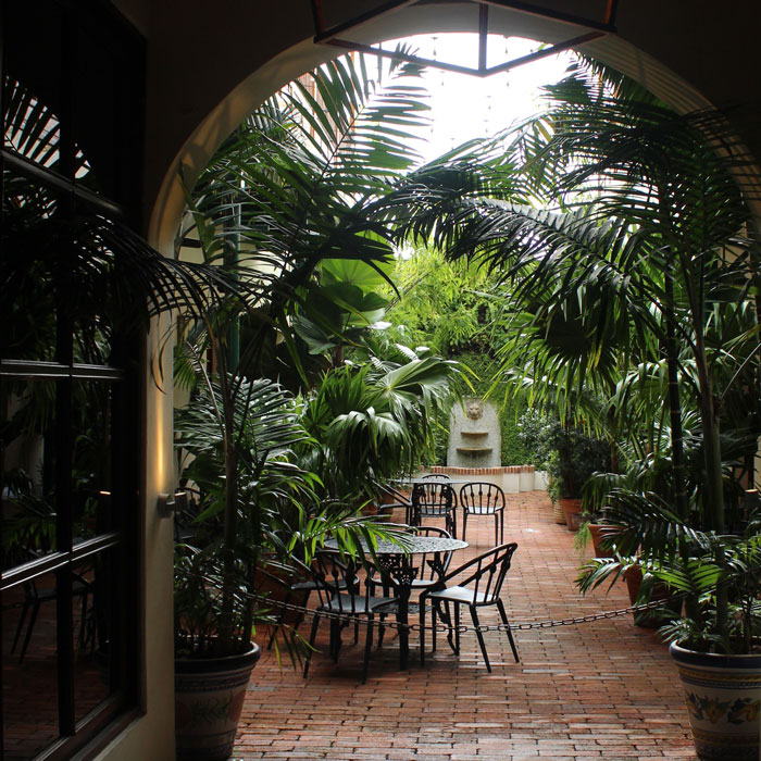 Bistrotische mit Stühlen zwischen großen Topfpflanzen formen eine einladende Alternative zur Terrasse