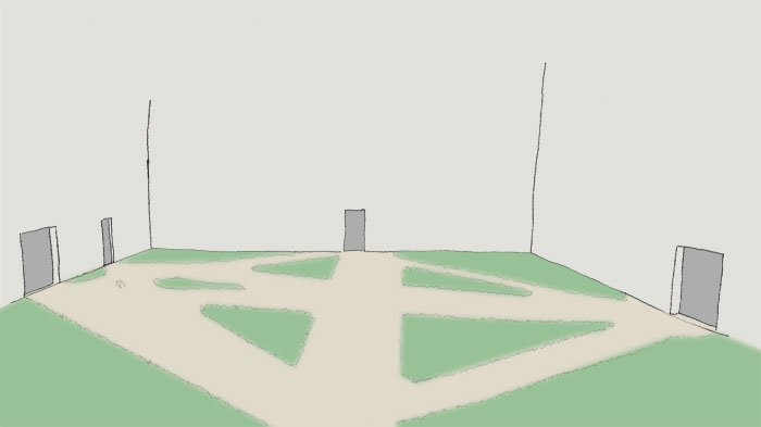 Skizze handgezeichnet eines leeren Innenhofs mit mehreren Türen an verschiedenen Seiten. Zwischen den Türen hat sich ein Geflecht aus TRampelpfaden gebildet