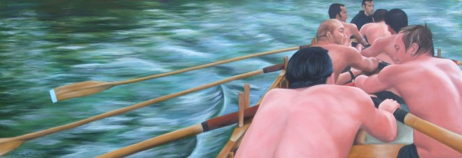 In Training, cornish pilot gig Isambard, Bristol, oil on canvas, 188 x 66 cm, image