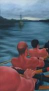 Stroke side, cornish gig Isambard, Bristol, oil on canvas, 130 x 70cm