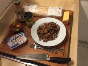 Zutatenliste für das Pulled Pork Ciabatta Sandwich mit Bacon Jam und Käse überbacken