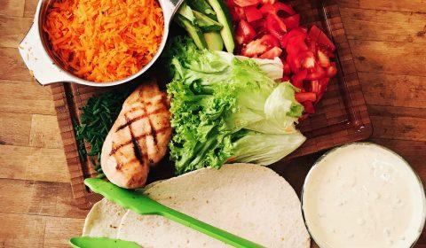 Zutaten für Chicken-Avocado-Wrap