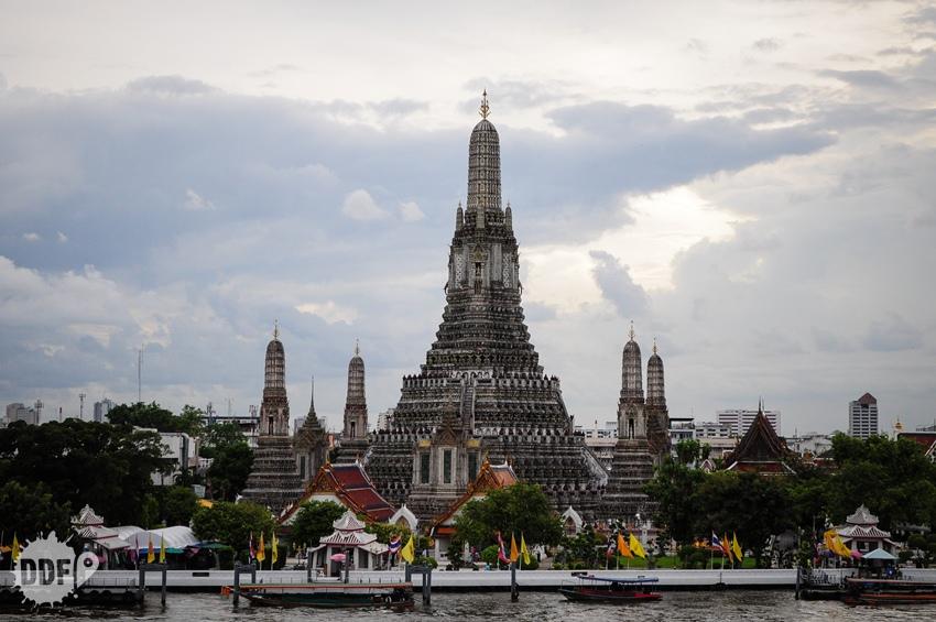 Wat Arun, templo, Bangkok, por do sol, vista, Tailandia, the deck, amorosa