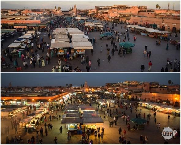praça Jemma el-Fna durante o dia e noite marrakech marrocos visita viagem férias