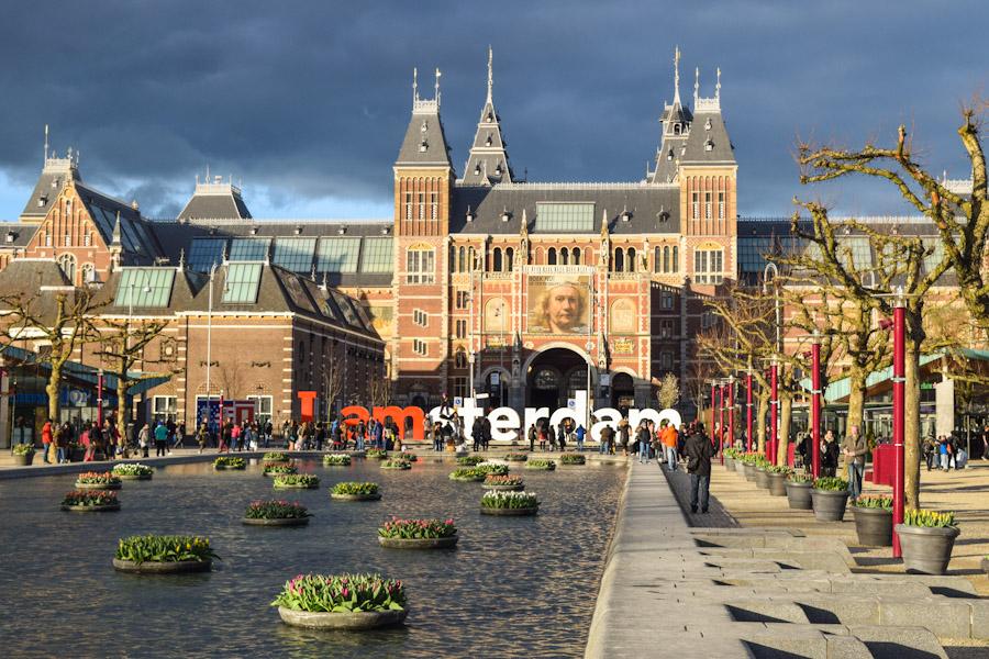 Letreiro i amsterdam - Museumplein panoramica