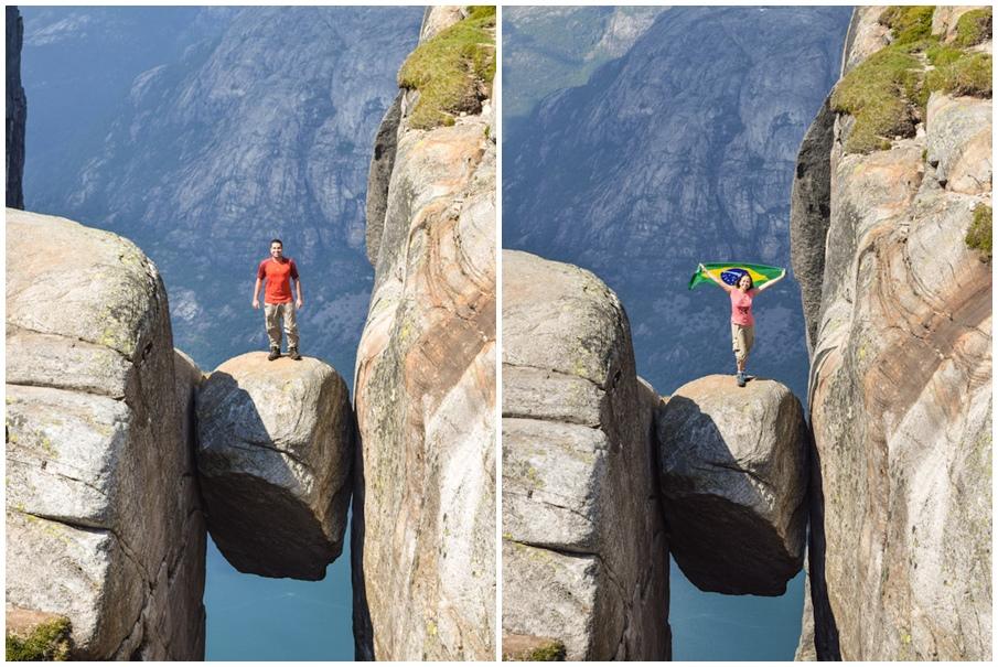 Trilha para a rocha Kjeragbolten na noruega presa em uma fenda nas montanhas 3