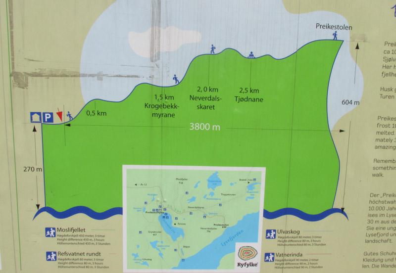 mapa da trilha da Pulpit Rock ou Preikestolen a pedra do pulpito na noruega