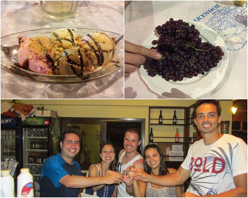 comida na Grécia uzo uvas sorvete