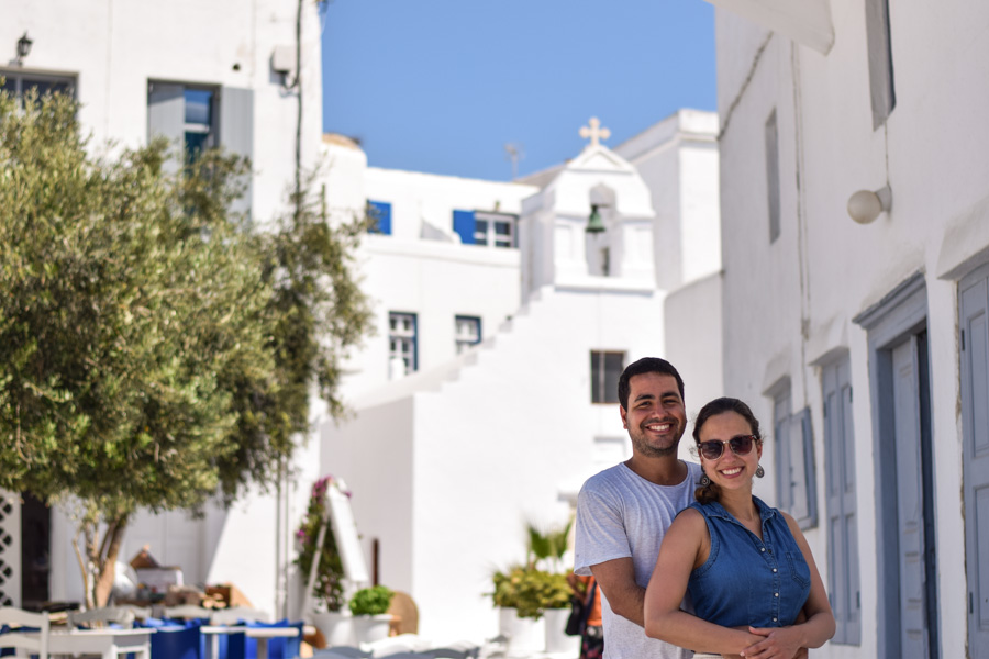 Grecia, Ilha de Mykonos, casal em chora