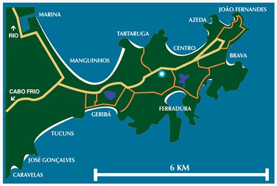buzios mapa regiao lagos praias rio de janeiro