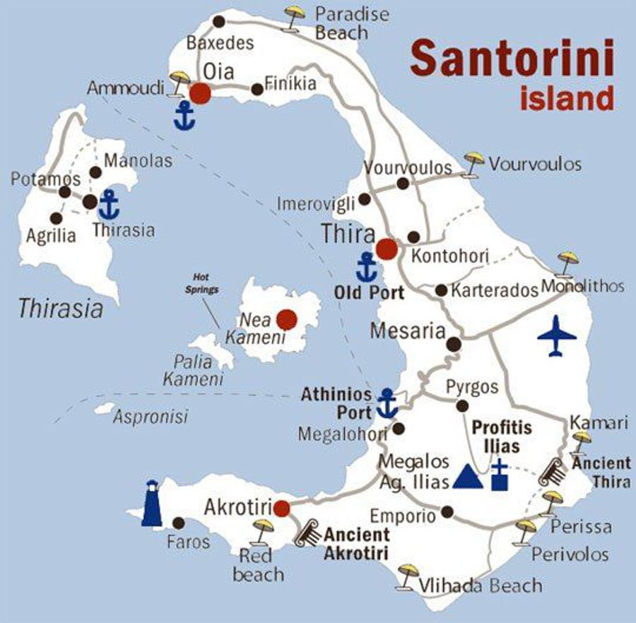 santorini grecia mapa ilhas