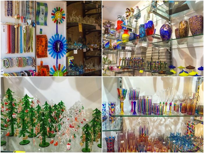 exemplos de peças feitas em vidro artesanal em murano em veneza