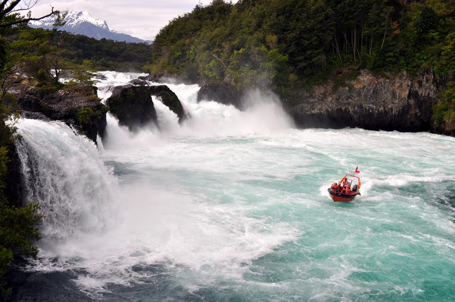 Saltos do rio Chile região dos lagos andinos Petrohué
