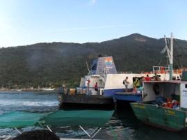 Barca municipal, en medio de la faena.