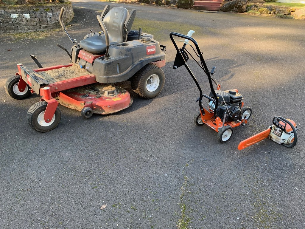 Riding mower, edger, chainsaw