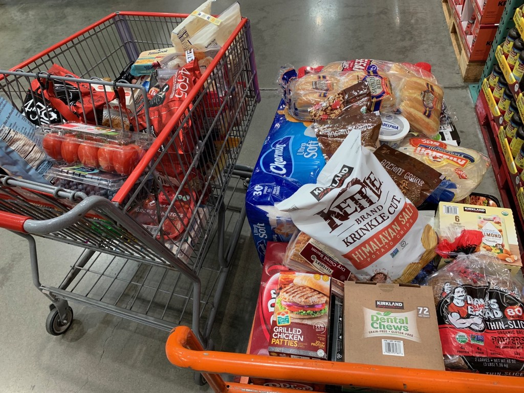Two carts of Costco groceries