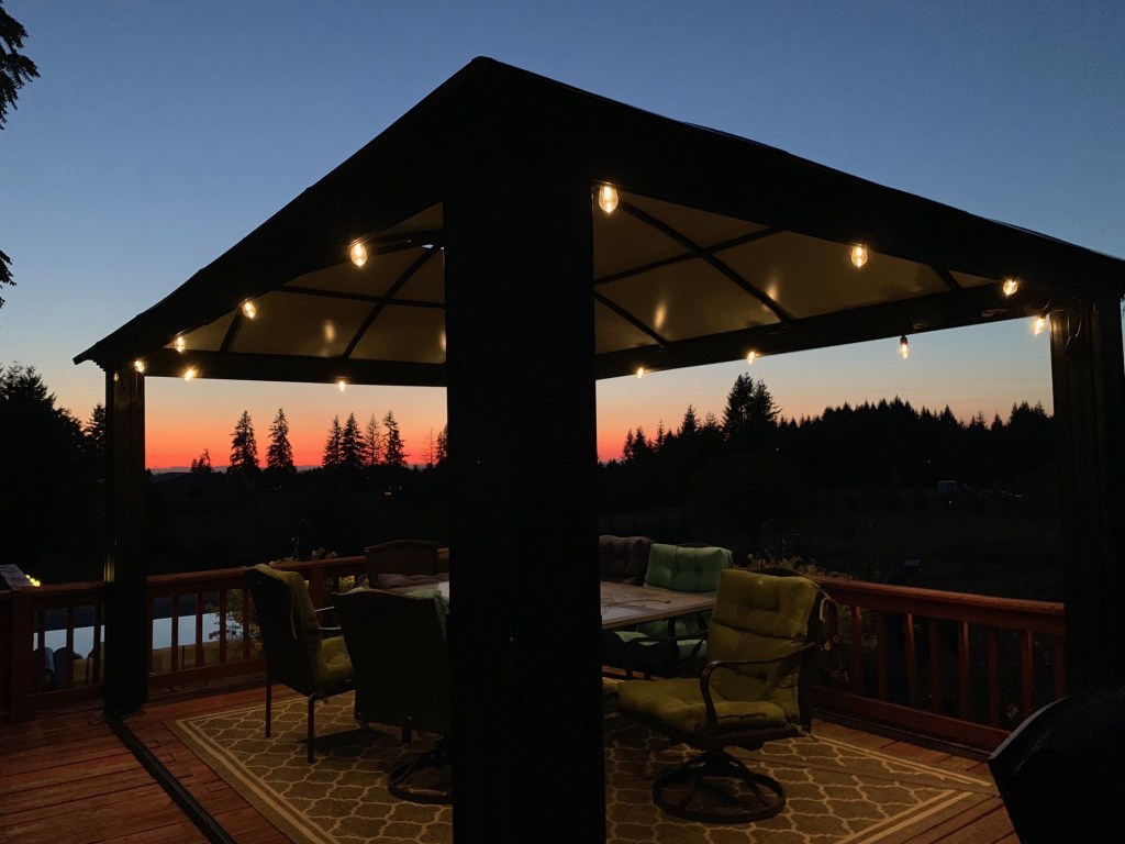 Gazebo lights at sunset
