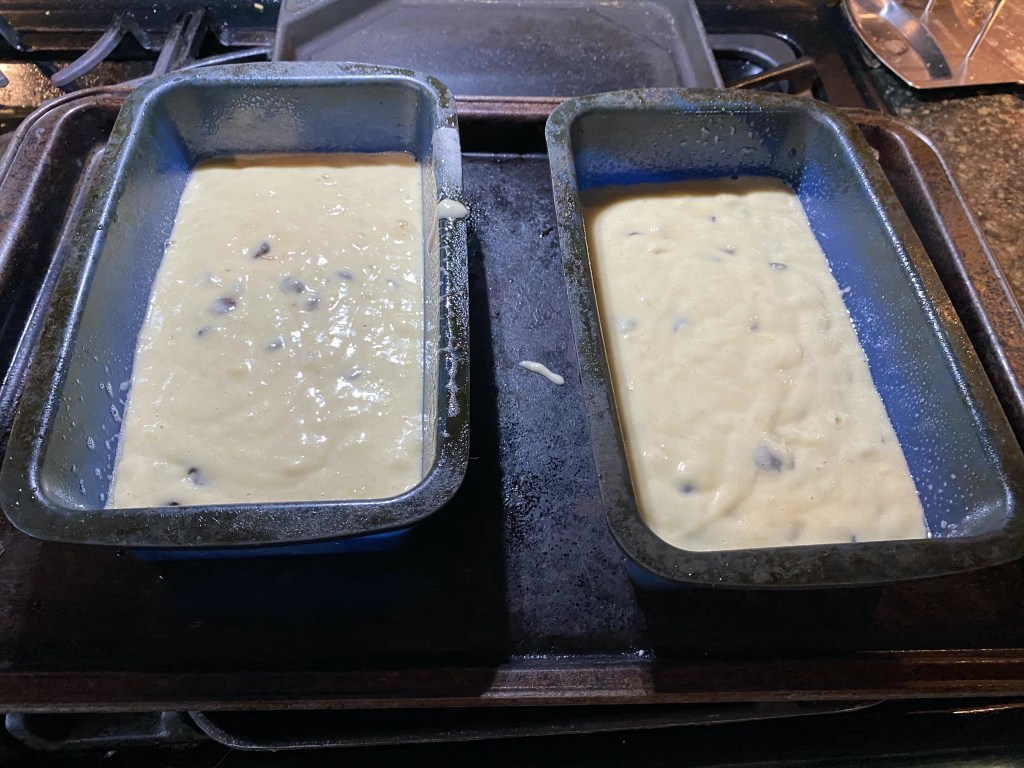 Banana bread in loaf pans