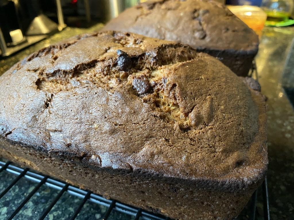 Chocolate banana bread loaves