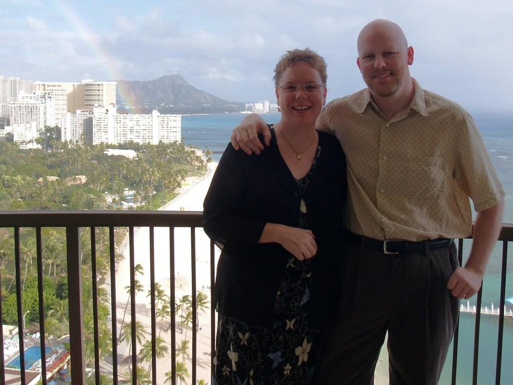 D & J with rainbow and Diamond Head