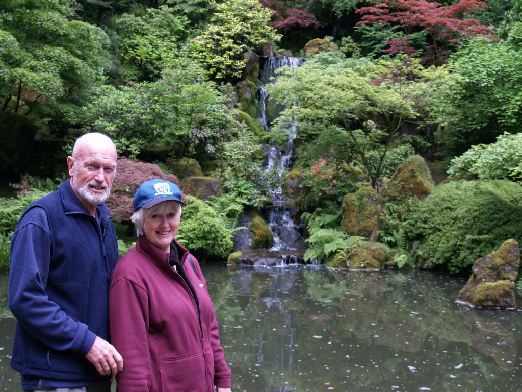 Brian and Mum in Portland Japanese Garden