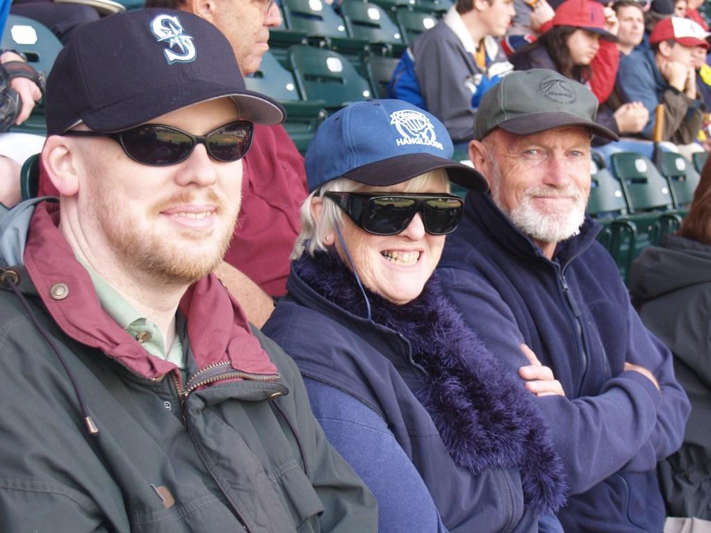 David, Mum, Brian at PGE Park watching baseball