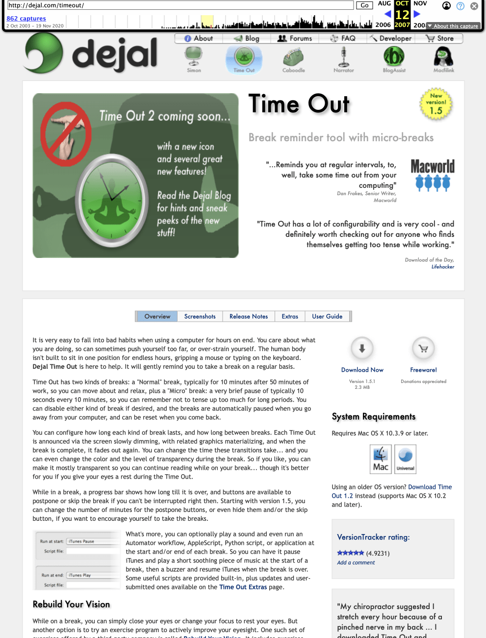 Time Out page from 2007