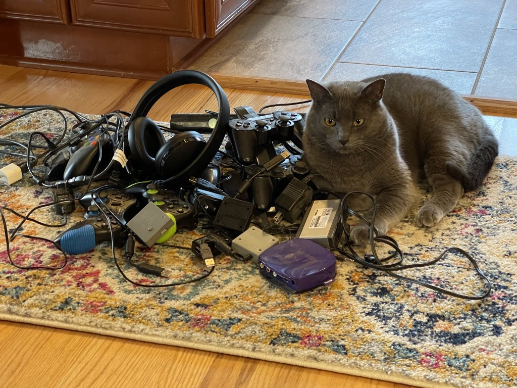 Paladin with a pile of electronics detritus
