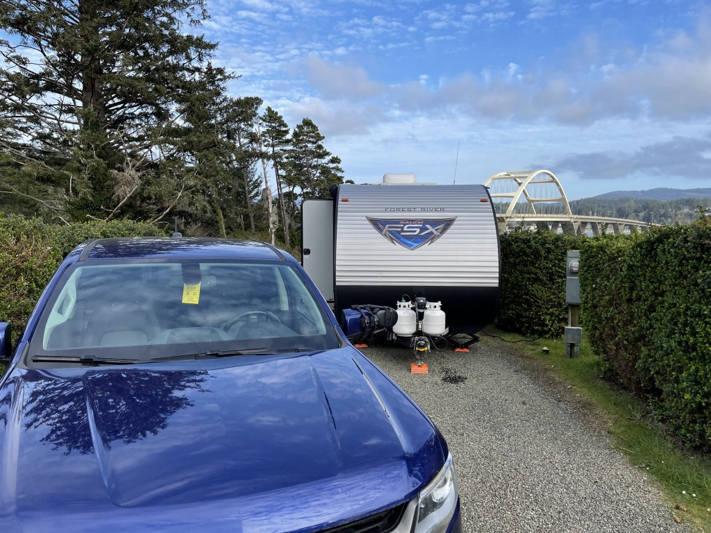 Truck and trailer at campsite