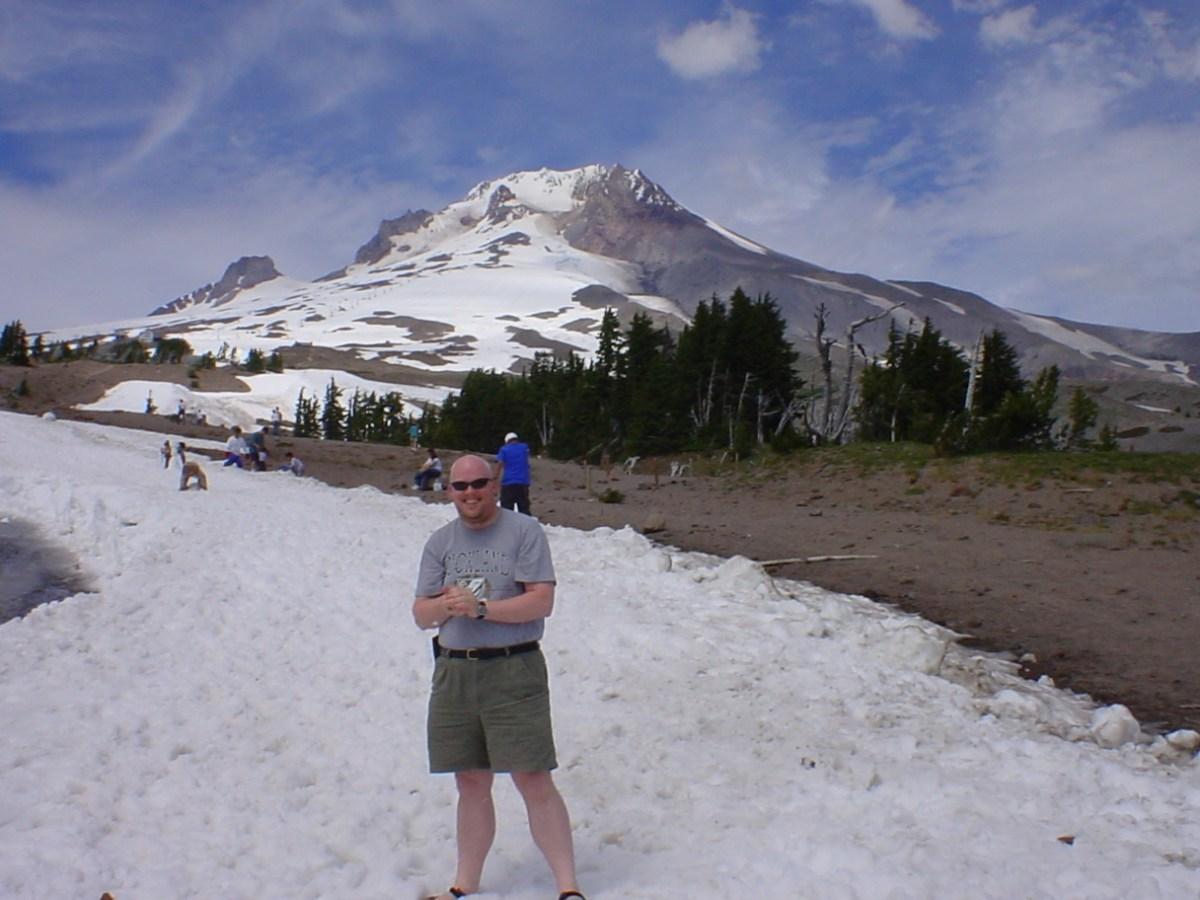 David in snow on Mount Hood