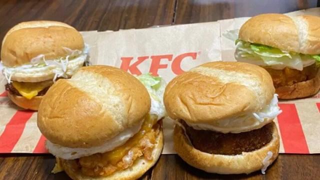 ケンタッキーフライドチキン月見サンドシリーズ4種類食べ比べ接写