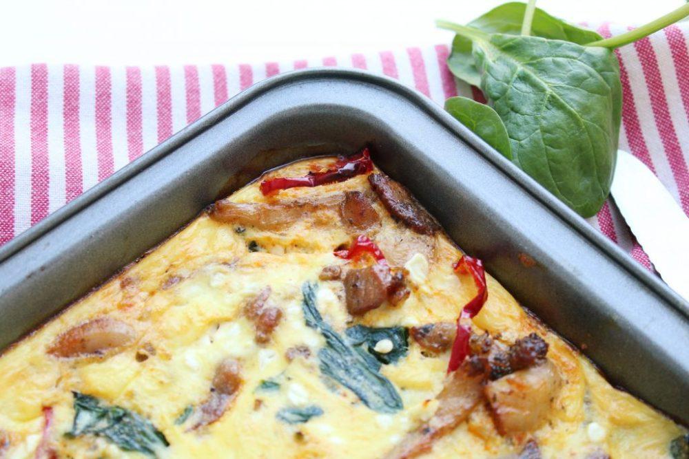 Frittata met kip en spinazie