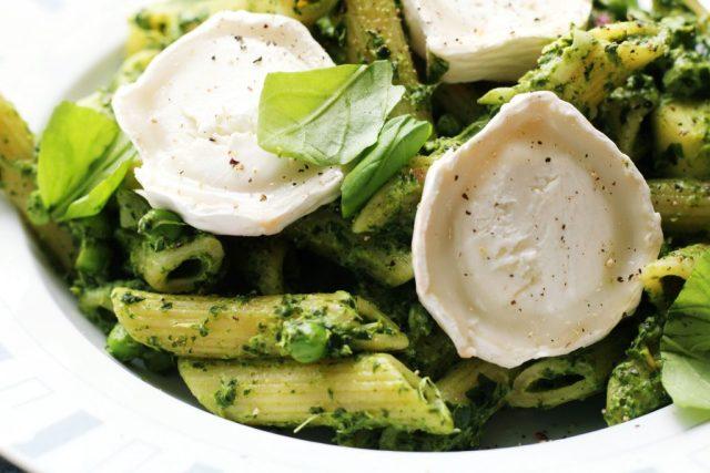 pasta met spinazie en geitenkaas