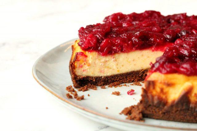 cranberry cheesecake met speculaas