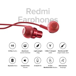Redmi Earphones with Mic, High-Definition Dynamic Bass, Hi-Res Audio Certified Wired Headset