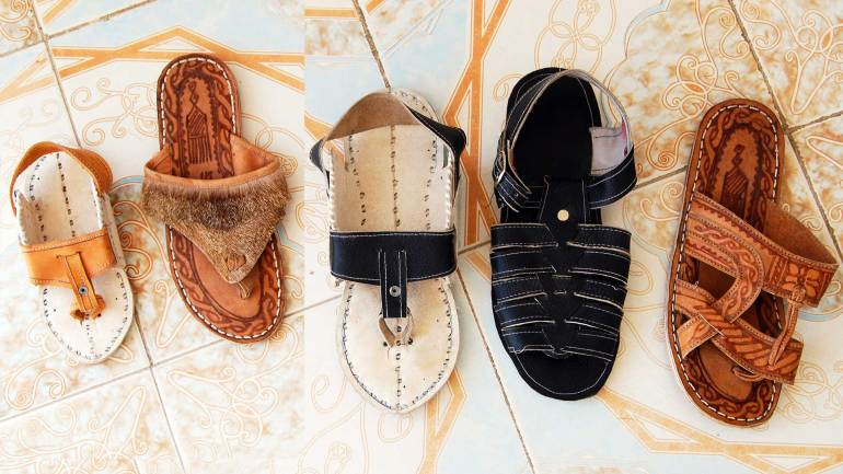 Somali-leather-foot wears,-made-with-camel-skin