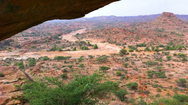 View-of-the-desert-from-the-top-of-the-Laas-Geel-Rocks,-Hargeisa-Somaliland, Laas Gaal, Laas Geel