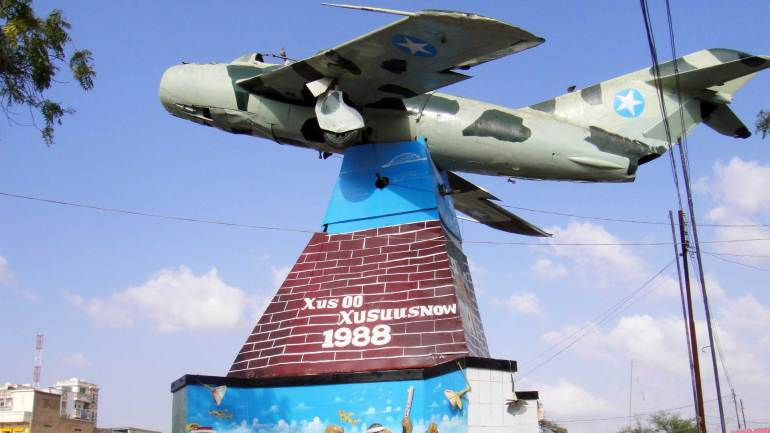 War-memorial-at-Freedom-square,-in-the-middle-of-the-city,-Hargeisa-Somaliland
