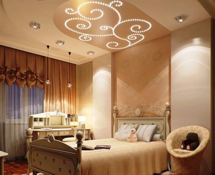дизайн потолка в спальне 7