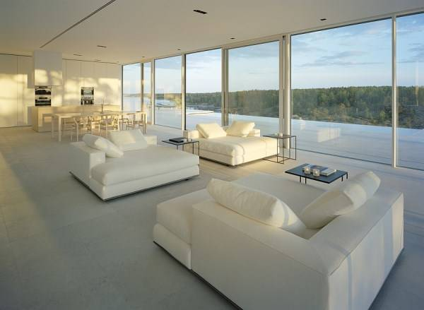 Living room design with large windows