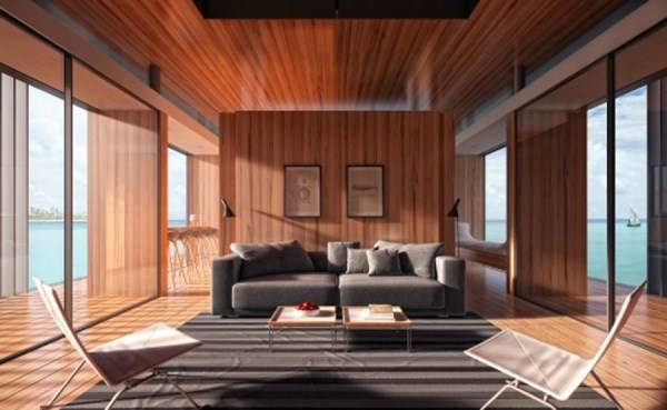 Modern living room design with large windows