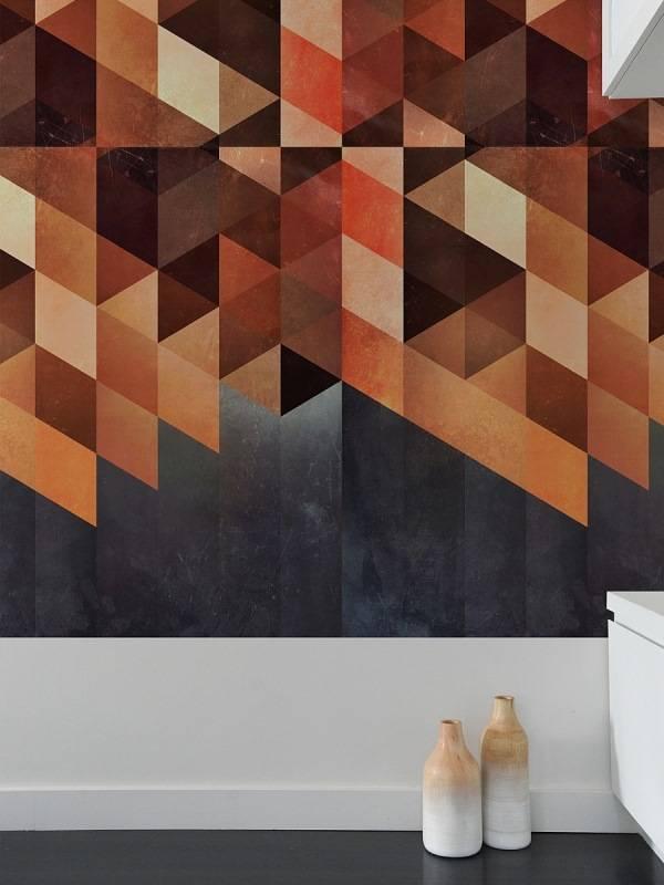 Geometrik desenli şık duvar kağıdı