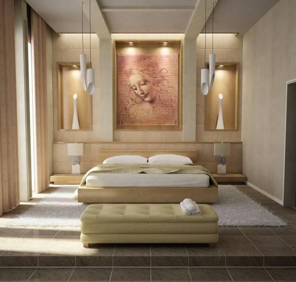 Heykelsi ışıklarla ilham veren yatak odası tasarımı